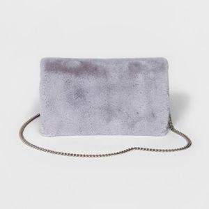 Mossimo Gray Faux Fur Foldover Clutch Crossbody